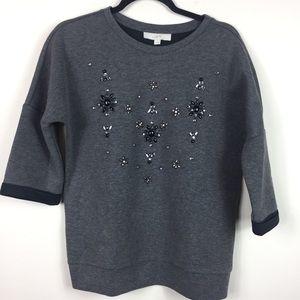 Ann Taylor Loft Gray Jeweled Sweatshirt Sweater S